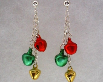 925 Sterling Silver Dangle Earrings with Red Green and Gold Christmas Jingle Bells