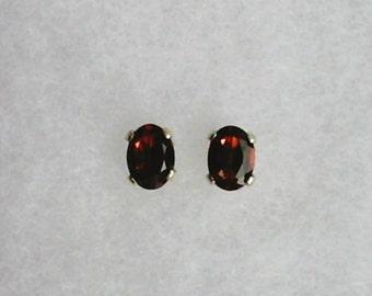 6x4mm Red Garnet Gemstones in 925 Sterling Silver Stud Earrings   SnapsByAnthony