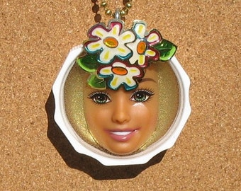 Daisy  - Upcycled Barbie Doll Pendant