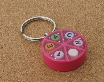 TEACH - Upcycled Trivial Pursuit Keychain