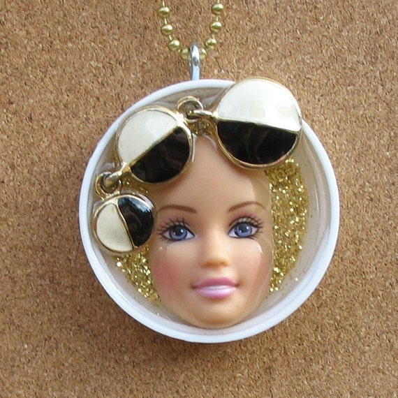 HALF OFF - Upcycled Barbie Doll Face Pendant - Phoebe