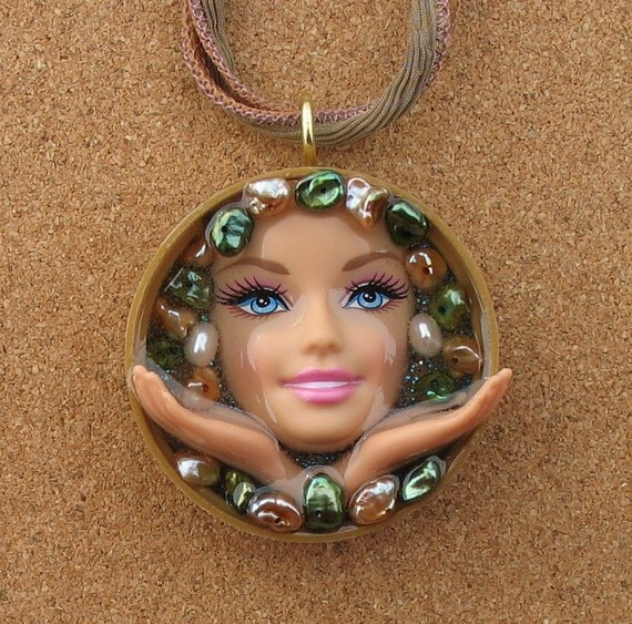 Upcycled Barbie Doll Pendant - Generosity