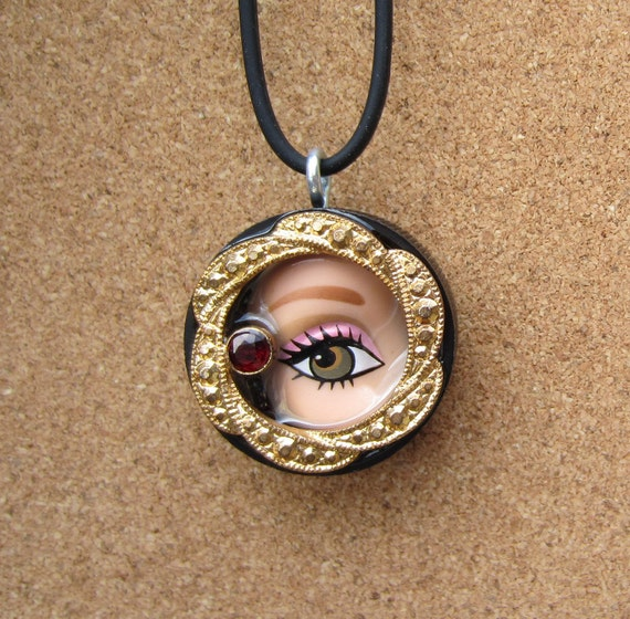 Upcycled Doll Eye Bottle Cap Pendant