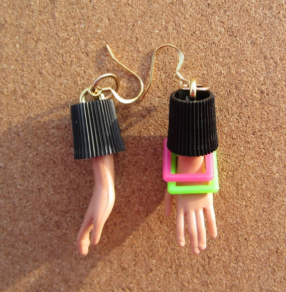Upcycled Barbie Doll Hand Plastic Cap Earrings - Square Bracelets