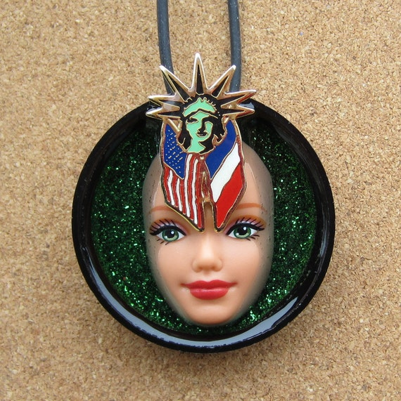 Upcycled Doll Face Pendant - Lady Liberty