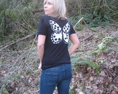 Black and white butterfly tee