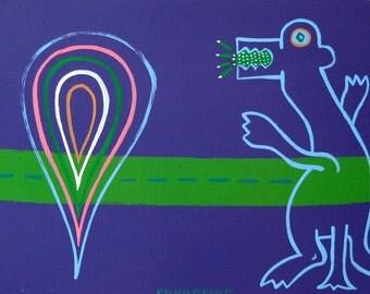 You Put The Gay In Alligaytor / original painting / gay as in happy / 3154
