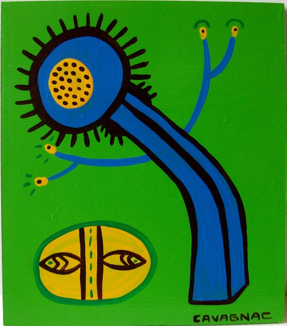 Original Abstract Folk Pop Green Painting / Grows Me Out / 3843