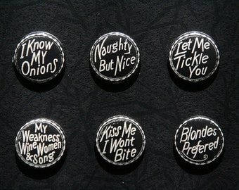 i know my onions pin back button set