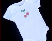 The Boutique kids----Sample SALE----Custom Boutique Rhinestone Cherry Cherries Onesie Girl baby Shower 12 Months Ready to ship