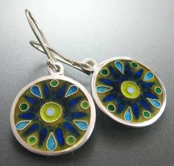 SALE Circulo- cloisonne enamel earrings
