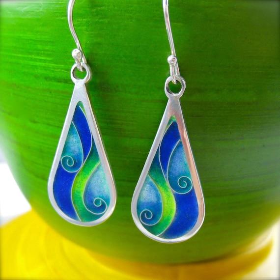 Waves- cloisonne enamel earrings