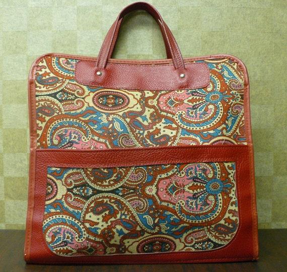 25 DOLLAR SALE Vintage 1970s Red Paisley Pattern Oversized Tote Handbag Purse