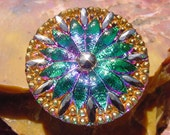 Emerald Fuscia Golden Starburst Czech Glass Button