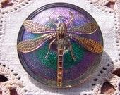 Metallic Emerald XLG Golden Dragonfly Czech Glass Button