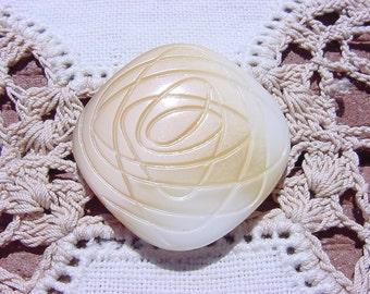 Honey Cream Atomic Swirls Vintage Czech Glass Button