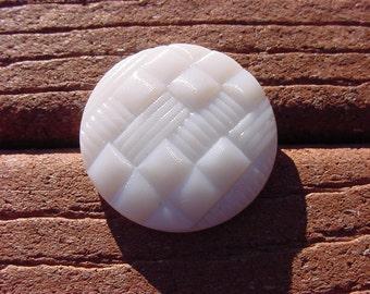 Alabaster White Woven Texture Vintage Czech Glass Button
