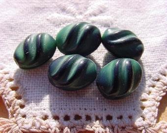 Wintergreen Ebony Swirls Vintage Glass Beads