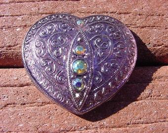 Dusty Lilac Rhinestone Set Heart Czech Glass Button