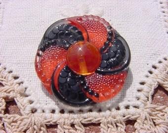 Tangelo Ebony Fun Floral Pinwheel Czech Glass Button