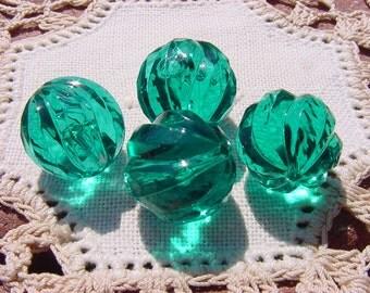 Emerald Teal Swirls Vintage Lucite Beads