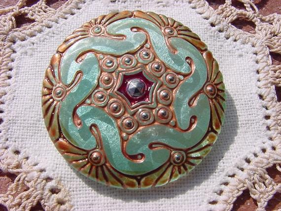 Seamist Patina Celtic Pattern Czech Glass Button