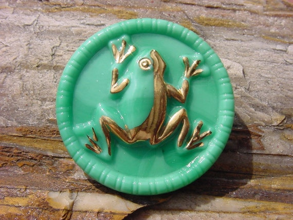 RIBBIT Mint Green Jadeite Gilded Frog Czech Glass Button
