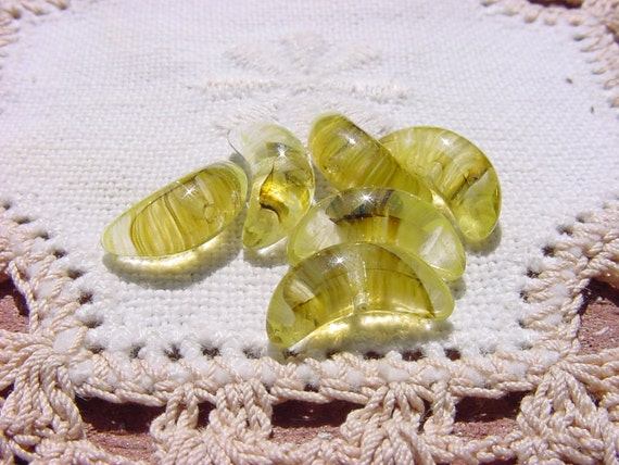 Chartreuse Mink Striated Crescents Vintage Glass Beads