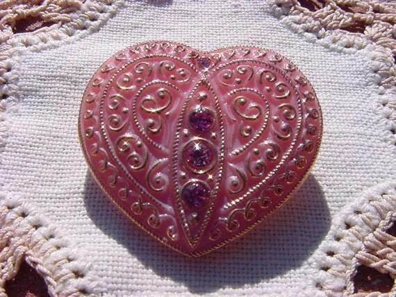 Rhinestone Set Heart Czech Glass Button in Dusty Rose Pink