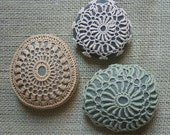 Crocheted Lace Stones, Golden Beige with Gray Stone, Handmade