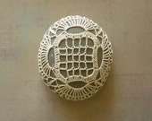 Crocheted Lace Stone, with Tiny Stitches, Beige, Greenish Gray, Handmade
