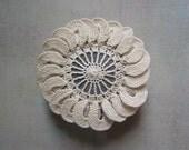 Wedding, Decor, Table Setting, Crochet Lace Stone, Art, Handmade, Original, Decorative Arts,  Art Object, Beige/Ecru, Brown Stone