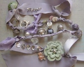 Wrap Bracelet made with Frayed Fabric, Beads, Buttons,Ribbons, Tulle, Rings