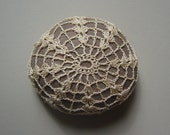 RESERVED  Crocheted Lace Stone, Beige on Brown Stone, Handmade by Monicaj
