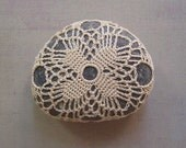 Wedding, Decoration, Crochet Lace Stone, Original, Handmade, Home Decor, Table, Folk Art, Nature, Collectible, Beige, Gray,