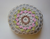Art, Mixed Media, Crochet Lace Stone, Original, Handmade, Table Decoration, Art Object, Collectible, Home Decor, Nature, Pink, Green, Gray