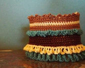 Crocheted Bracelet, Intricate Stitches, Freeform, One of a Kind