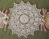Crocheted Doilies, Lace Centerpiece in Cream, Ecru, Pink and Tan, Handmade
