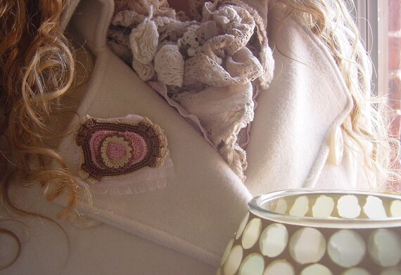 Jewelry, Crocheted Brooch, Handmade, Original, Small, Taupe, Light Pink, Freeform