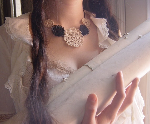 Crocheted Lace Necklace, Handmade, Beige and Black