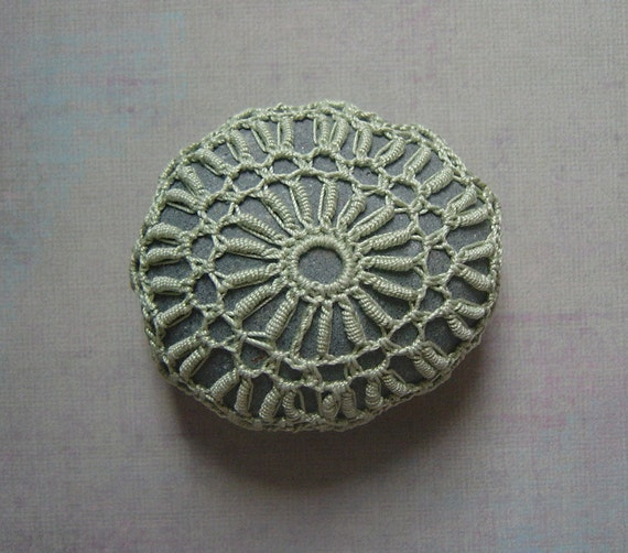 Wedding, Decoration, Crochet Lace Stone, Original, Table, Handmade, Art, Home Decor, Collectible, Nature, Soft Green, Gray Stone