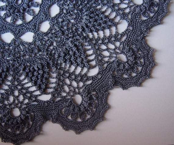 RESERVED Delicate Gray Crocheted Doily, Decorator Lace Piece