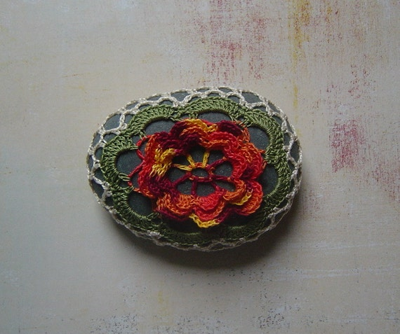 RESERVED Crocheted Lace Stone, Multi Colored 3D Flower, Handmade by Monicaj