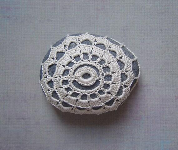 Crocheted Lace Stone, Beige, Irish Lace Inspired