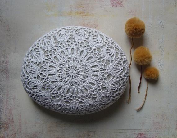 Wedding Table Decor, Home Decor, Crochet Lace Stone, Large,White, Light Gray Stone, Handmade