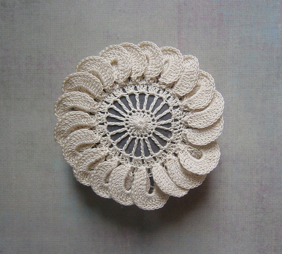 Wedding, Decor, Table Setting, Crochet Lace Stone, Art, Handmade, Original, Decorative Arts,  Art Object, Beige/Ecru, Brown Stone
