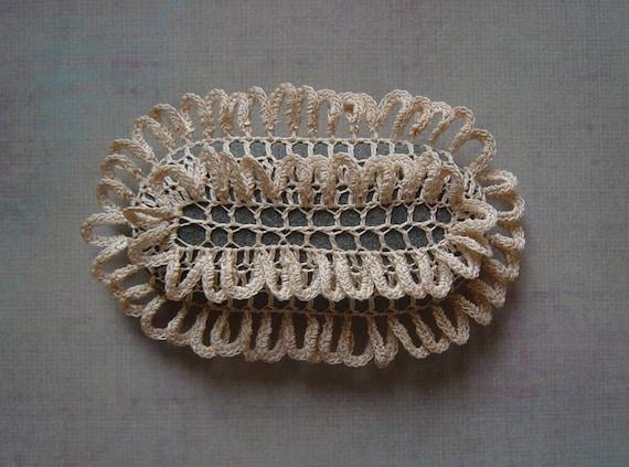 Art, Mixed Media, Crochet Lace Beach Stone, Art Object, Table Decoration, Nature, Handmade, Original, Beige, Gray Stone