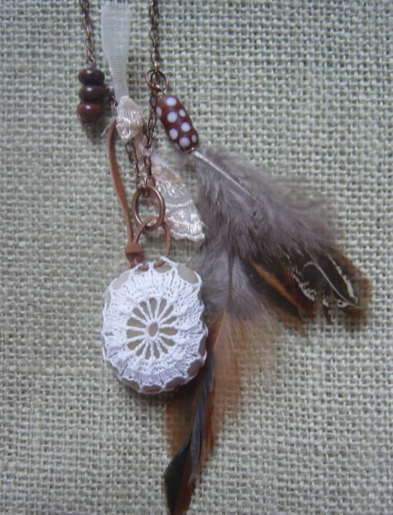 Necklace, Pendant, Holiday Jewelry, Lace Stone, Original, Crocheted, Tribal, Feather, Statement, Antique Copper, Handmade
