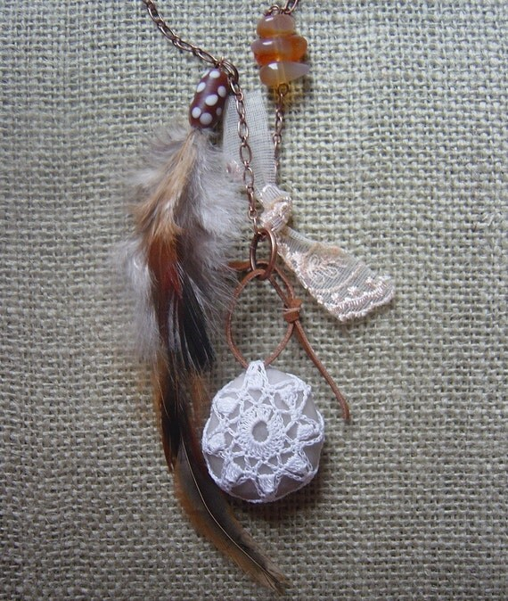 Necklace, Pendant, Holiday Jewelry, Crochet Lace Stone, Original, Tribal, Agate, Antique Copper, Feather, Handmade