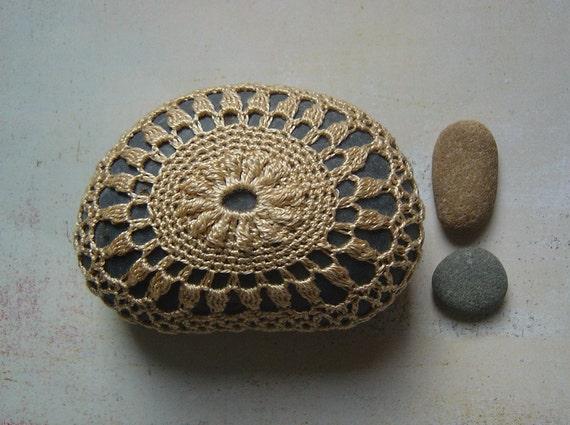 Folk Art, Table Decorations, Crochet Lace Stone, Original, Handmade, Mixed Media, Home Decor, Woodland, Golden Beige, Deep Gray Stone